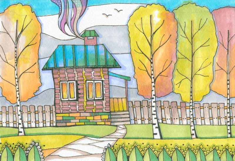 Color drawing, picturesque autumnal landscape with country house and trees. royalty free illustration
