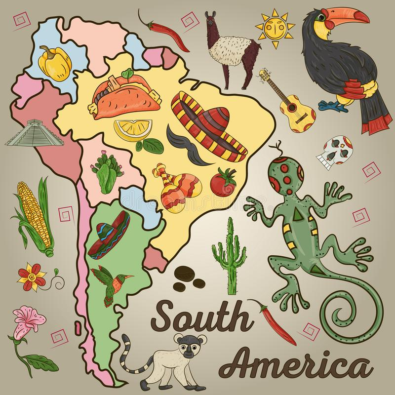 Color_4_drawing on the theme of South America, the continent depicts plants, animals living in South America. Vector color drawing on South America theme stock illustration