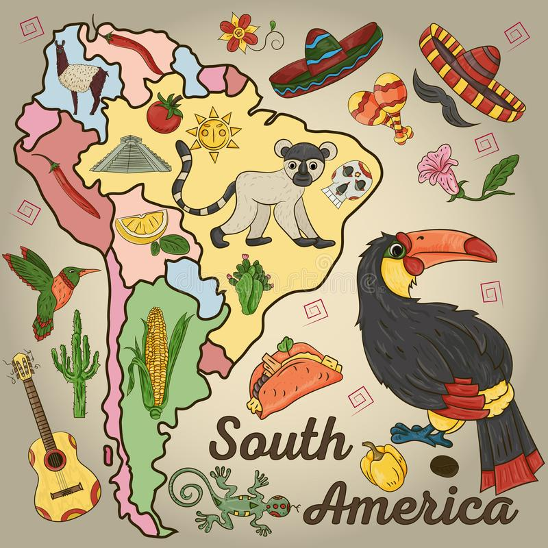 Color_2_drawing on the theme of South America, the continent depicts plants, animals living in South America. Vector color drawing on South America theme vector illustration