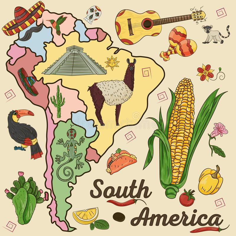 Color drawing on the theme of South America, the continent depicts plants, animals living in South America. Vector color drawing on South America theme, animals stock illustration
