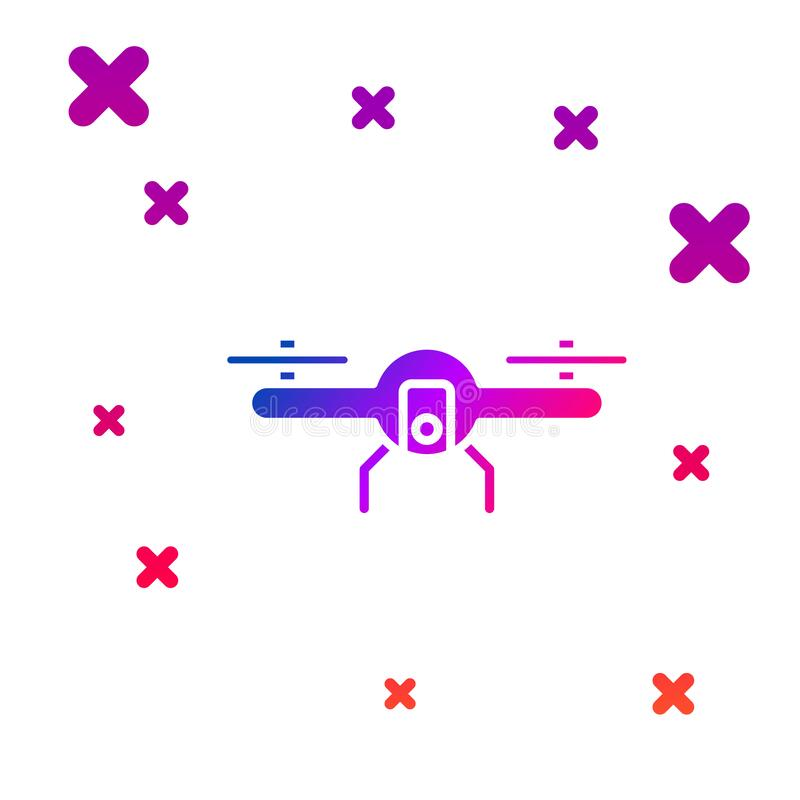 White Drone Flying Icon Isolated With Long Shadow