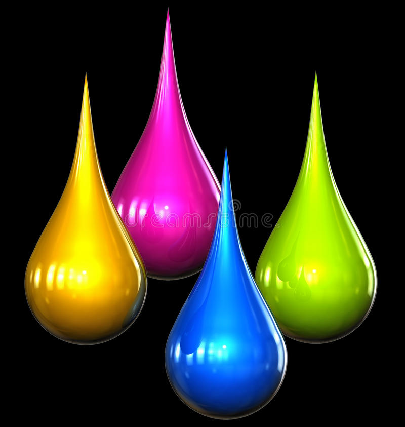 Color drops. 3d rendering of color drops royalty free illustration