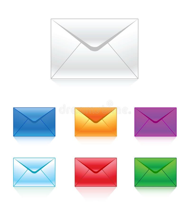 color e-posten mång- stock illustrationer