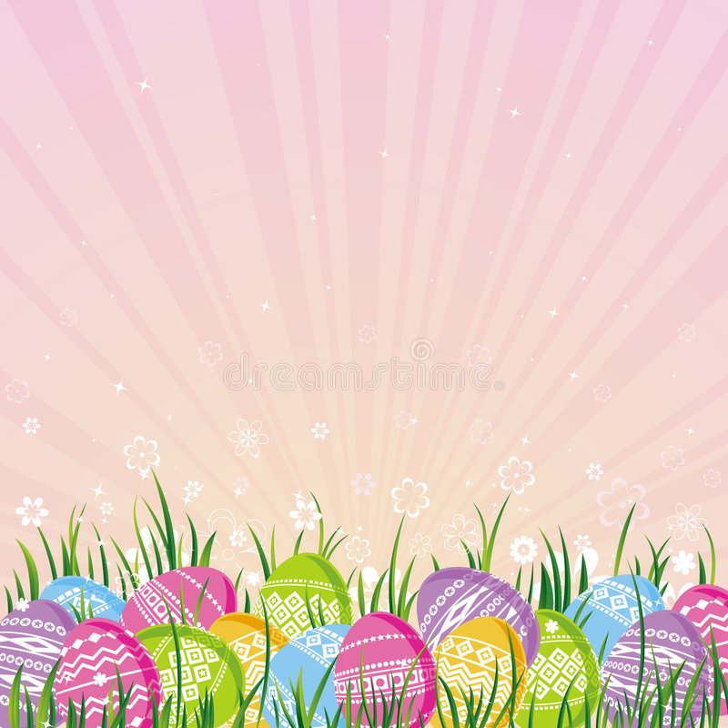 Color easter eggs, vector royalty free illustration