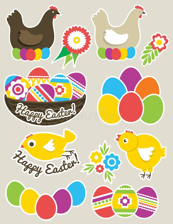 Color Easter stickers with eggs, hen, nest and chicken. Holiday Easter Eggs decorated with flowers and leafs. Print design, label royalty free illustration