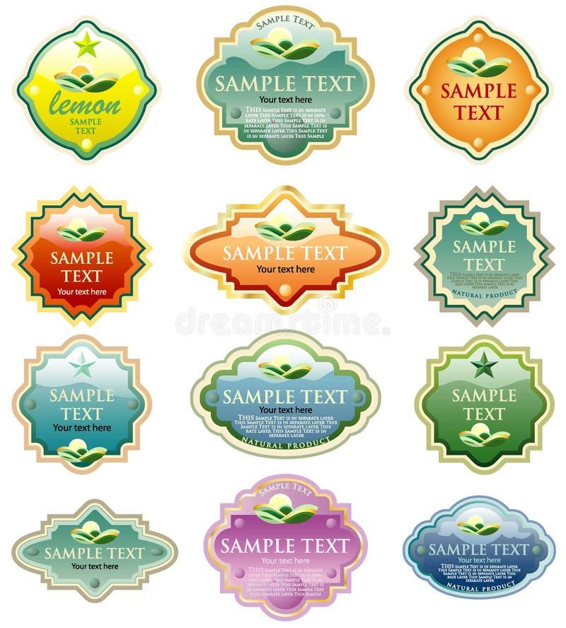 Color eco labels vector illustration