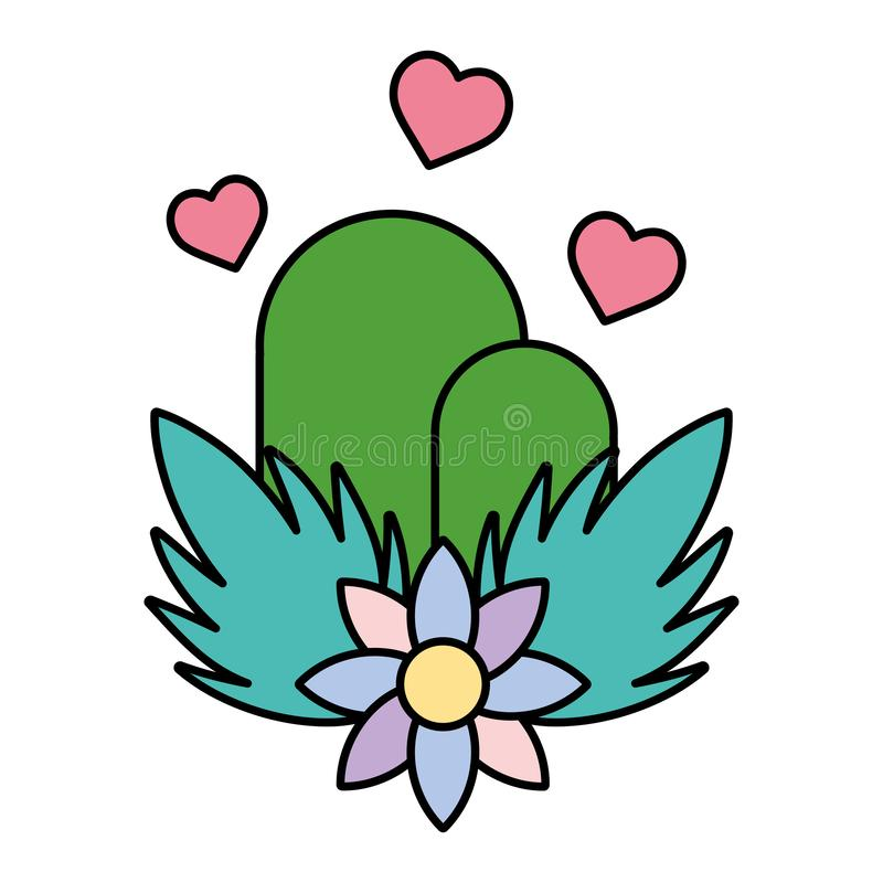 Color ecology mountains with hearts and flowers plants. Vector illustration vector illustration