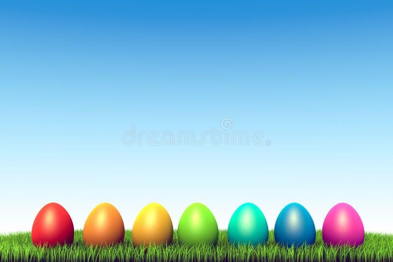 Color eggs row stock illustration