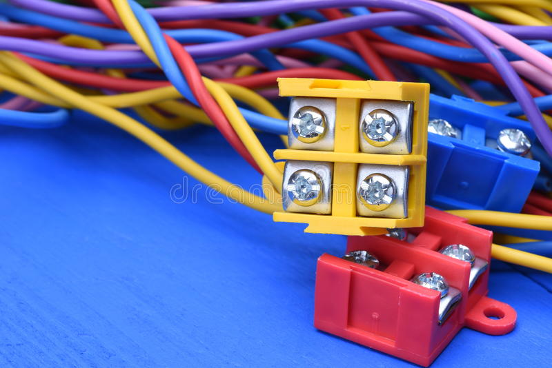 Color electric cables with terminal blocks stock image