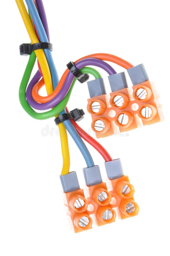 Color electric cables with terminal blocks royalty free stock photography
