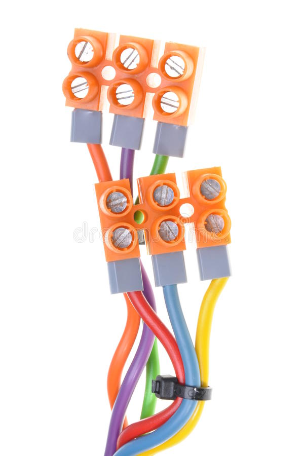 Color electric cables with terminal blocks royalty free stock photos
