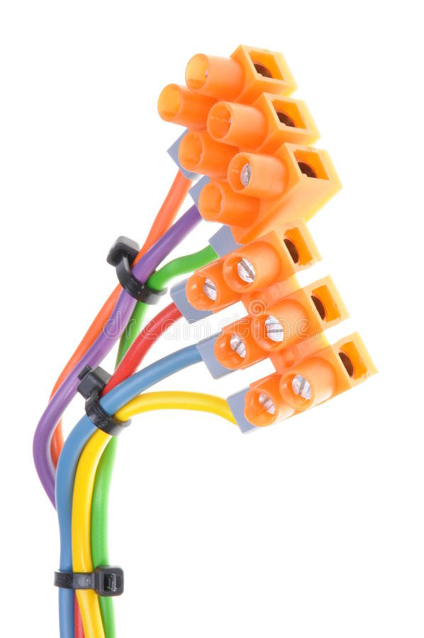 Color electric cables with terminal blocks stock photos