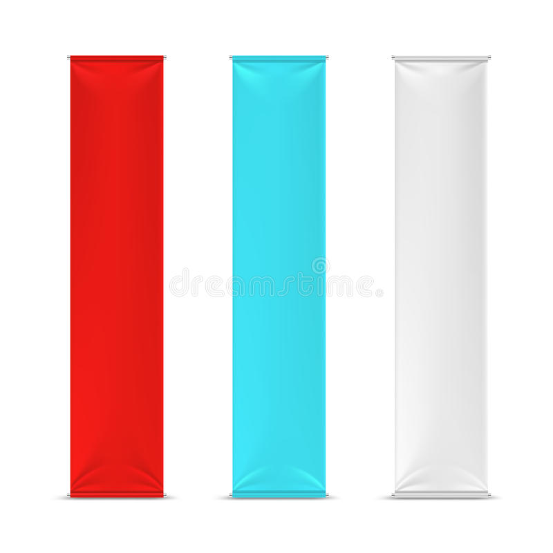 Color empty vertical advertising banner flags. Vector mockup vector illustration