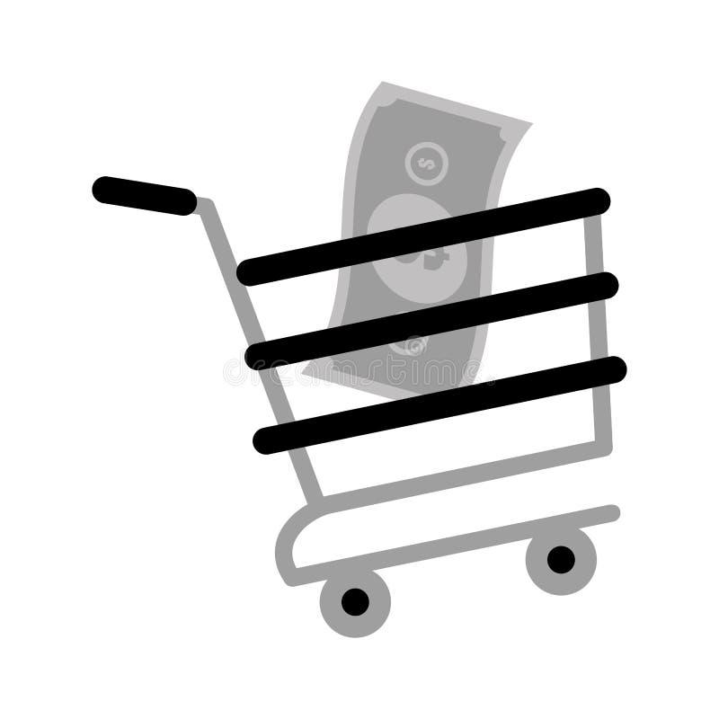 Color en línea del gris del dinero de la cuenta del carro de la compra ilustración del vector
