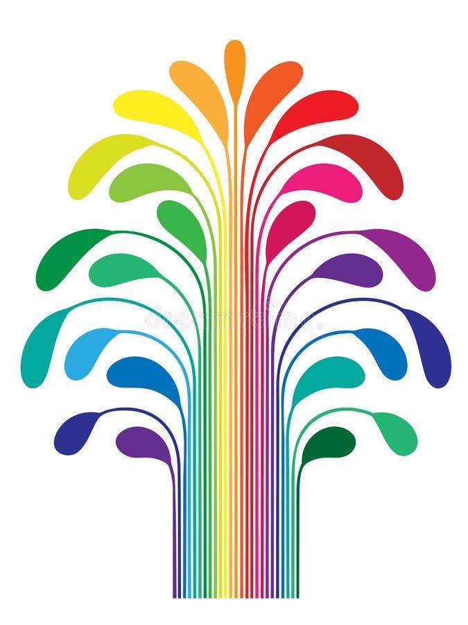 Color estilizado simple abstracto del arco iris del árbol stock de ilustración