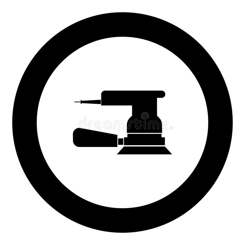 Color excéntrico del negro del icono de la amoladora en círculo redondo ilustración del vector