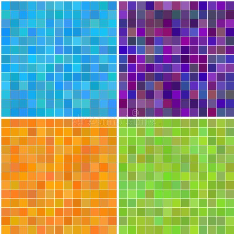 color färgrika mång- seamless fyrkantiga tegelplattor stock illustrationer