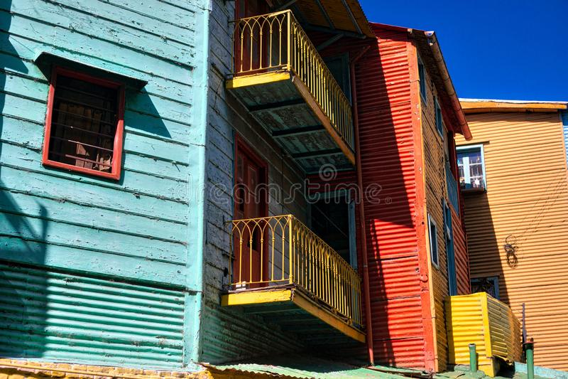 Color facade of Caminito in Buenos Aires royalty free stock images