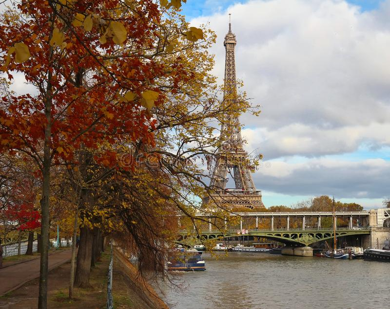 Color fall image of the Eiffel tower in Paris, France, Europe, on a sunny autumn day . royalty free stock images