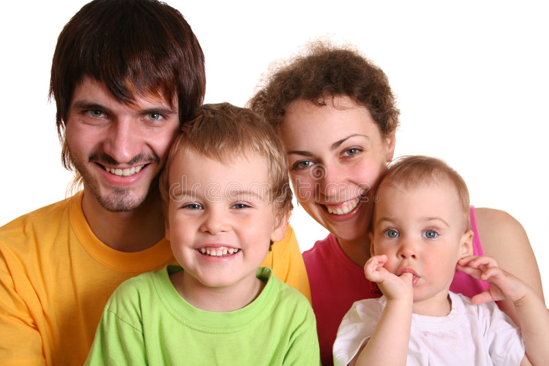 Color family of four 2 stock photography
