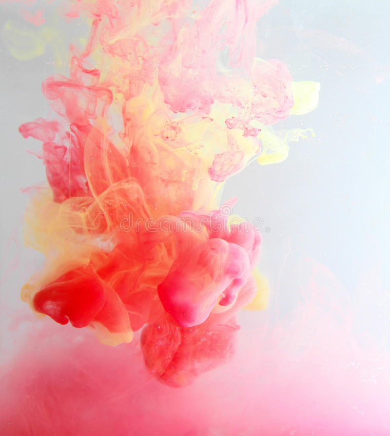 Color fancy smoke. Inks in water, colorful abstraction stock photo