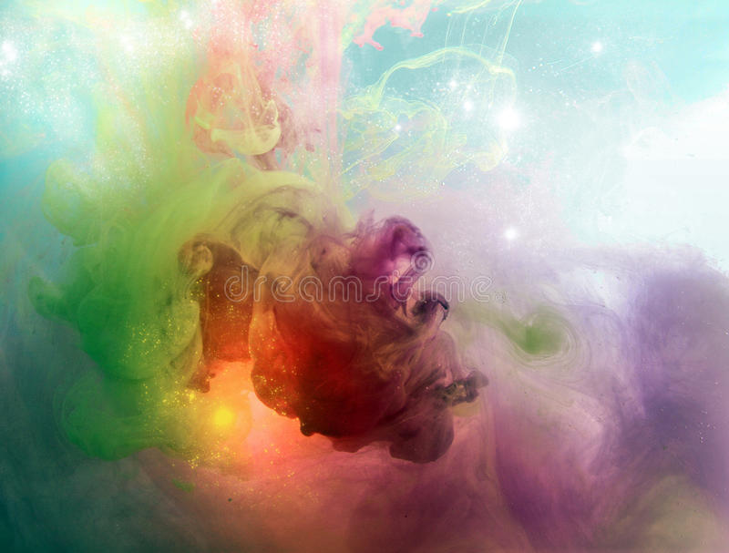 Color fancy smoke. Inks in water, colorful abstraction royalty free stock images