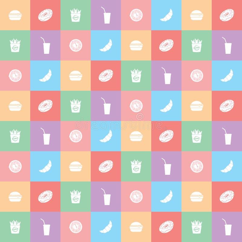 Color Fastfood Background With Menu, Vector Illustration royalty free illustration