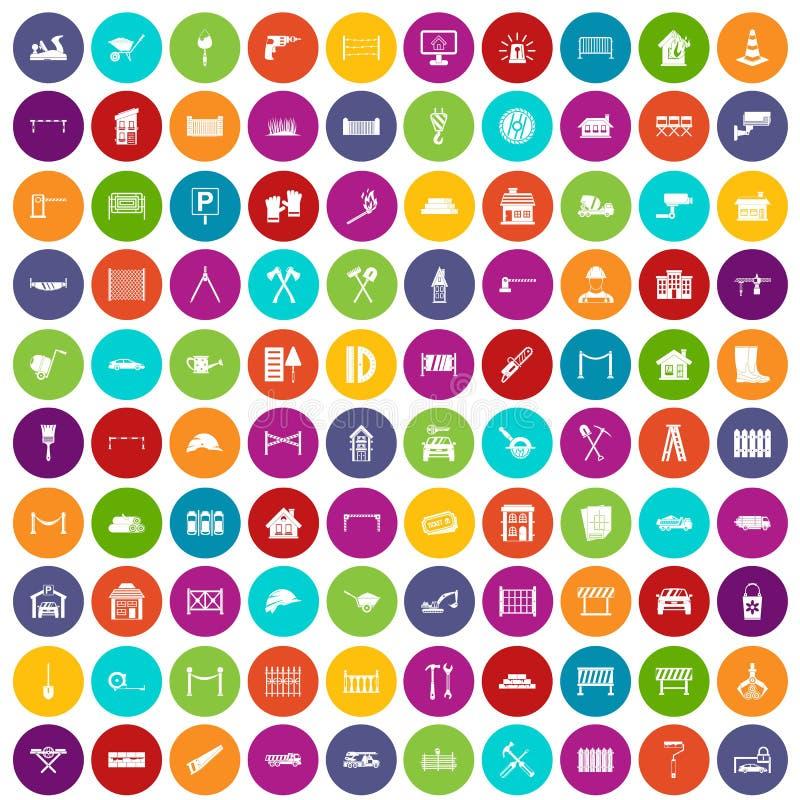 100 color fijado de la cerca iconos libre illustration