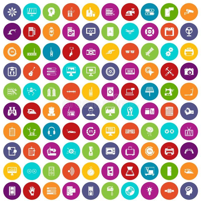100 color fijado de los ajustes iconos stock de ilustración