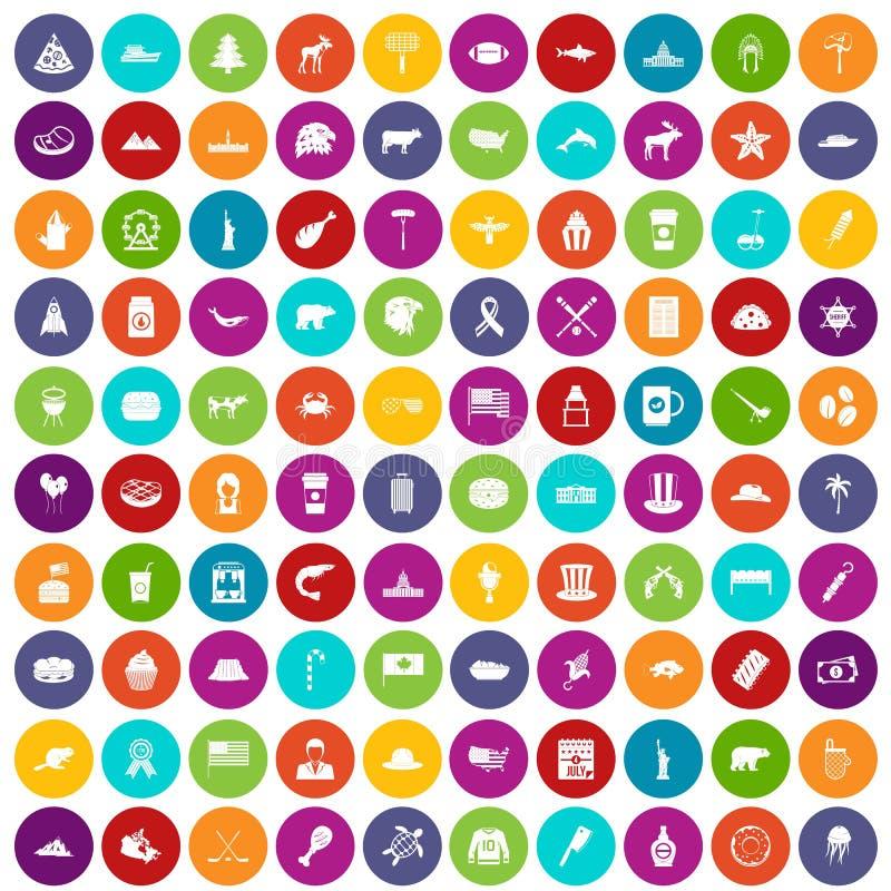100 color fijado de Norteamérica iconos stock de ilustración