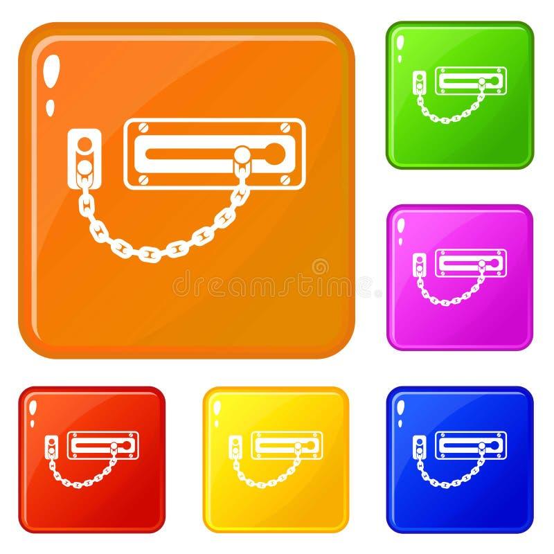 Color fijado iconos del vector del cierre de puerta ilustración del vector