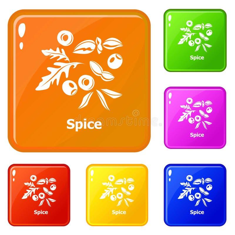 Color fijado iconos del vector de la especia stock de ilustración