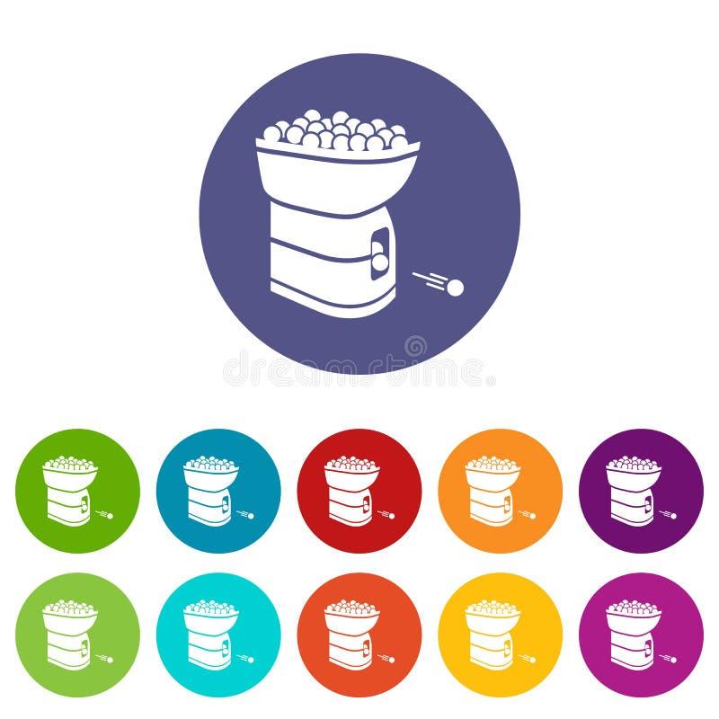 Color fijado iconos del vector de la máquina de la pelota de tenis ilustración del vector