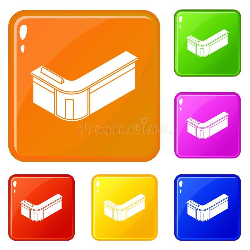 Color fijado iconos del vector de la tabla de la recepci?n stock de ilustración