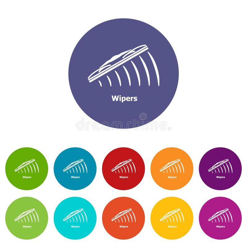 Color fijado iconos del vector de los limpiadores stock de ilustración