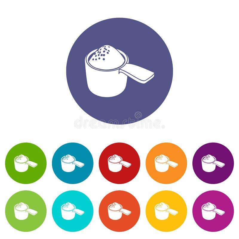 Color fijado iconos detergentes del vector de la dosis stock de ilustración