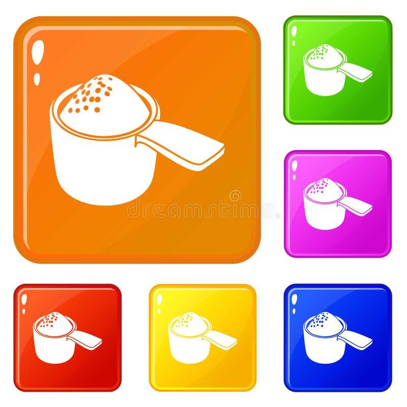 Color fijado iconos detergentes del vector de la dosis ilustración del vector