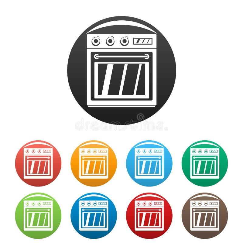 Color fijado iconos eléctricos del horno stock de ilustración