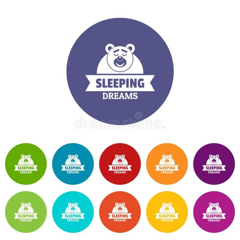Color fijado iconos ideales del vector el dormir libre illustration