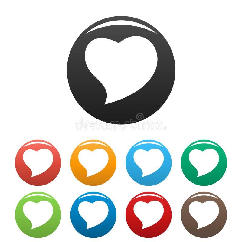 Color fijado iconos valientes del corazón ilustración del vector