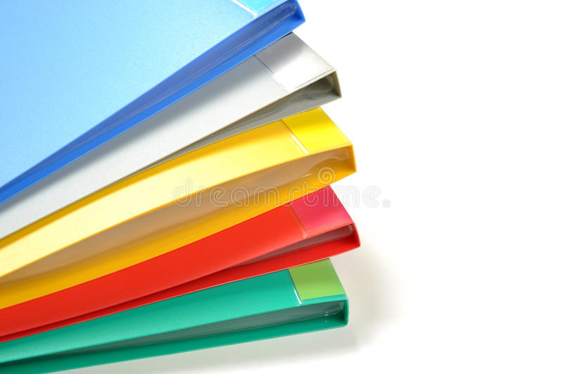 Color file folders isolated stock photography