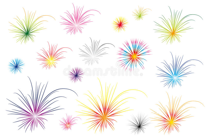 Color fireworks stock illustration
