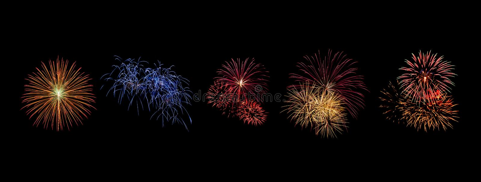 Color fireworks set light up on sky with dazzling display on black background stock photography