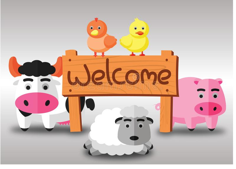 Color flat farm of cows pig hen duck and sheep stand in green field with welcome wooden board.suitable for animal,agriculture,farm royalty free illustration