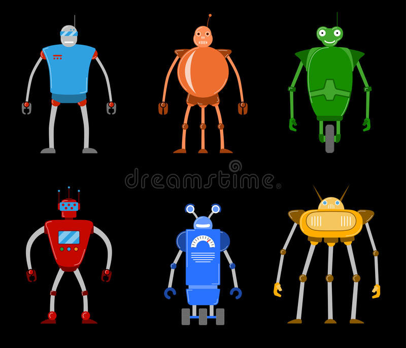 Color flat icon set of modern modern robots. Future mechanical robots. vector illustration