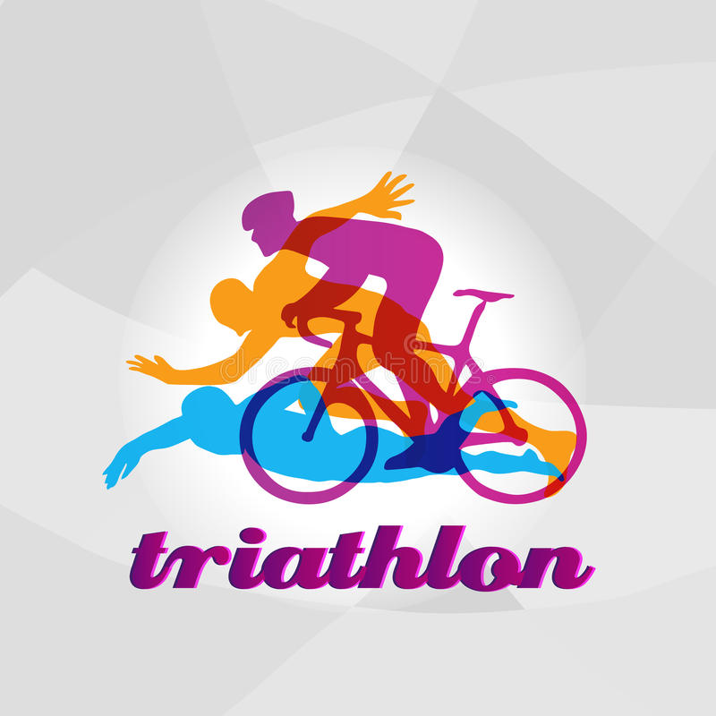 Color flat logo triathlon. Vector figures triathletes vector illustration