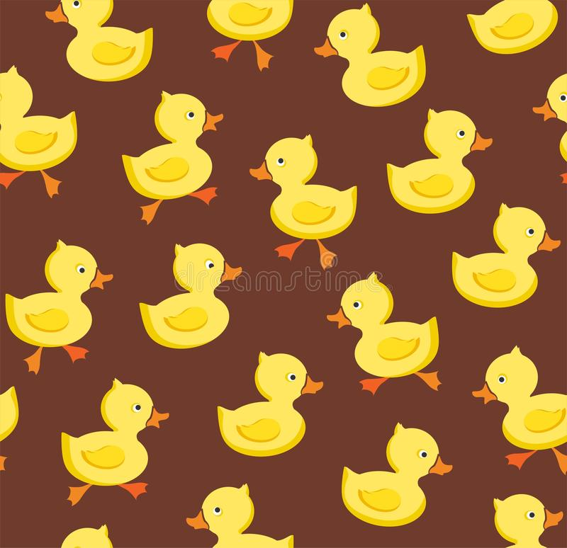 Ducklings, seamless pattern, color, brown, vector. royalty free illustration