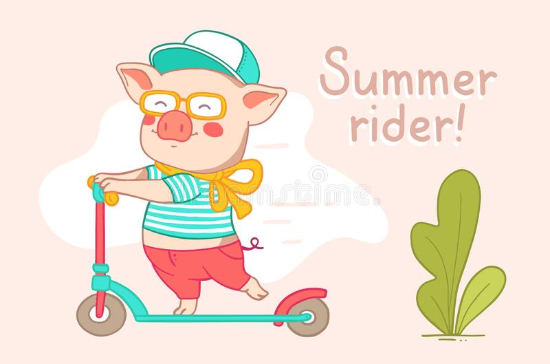 Color flat style design of urban character rider pig for web, si stock photo