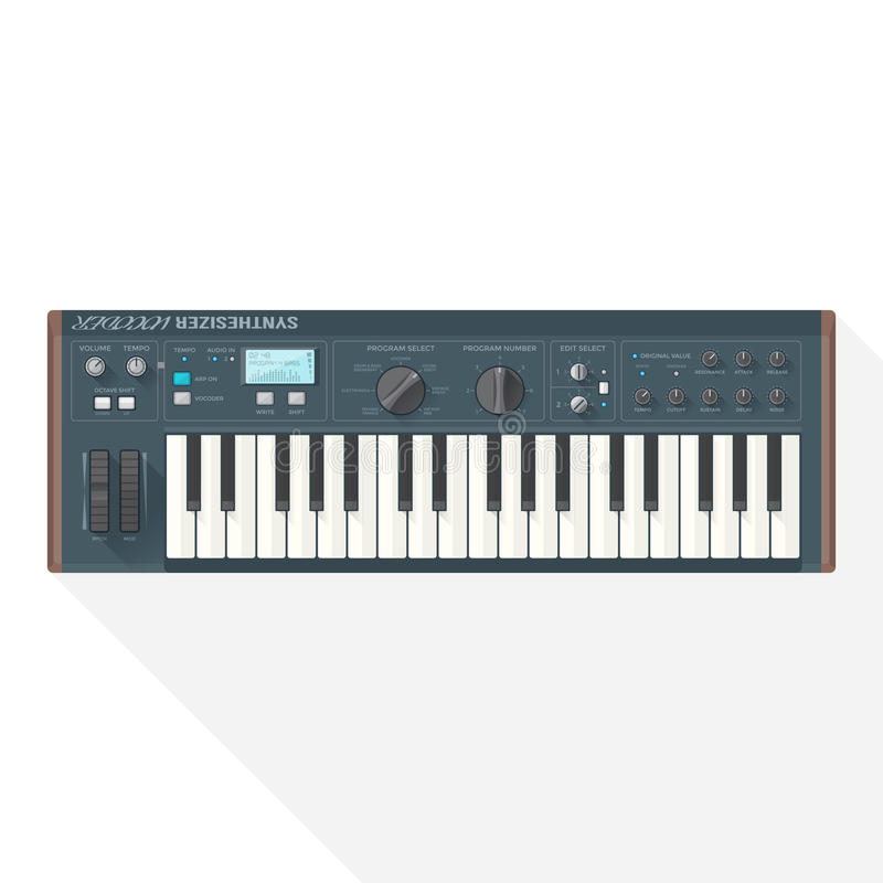 Color flat style vector piano roll synthesizer vocoder. Color flat style vector grey blue piano roll analog synthesizer faders buttons knobs display on white stock illustration
