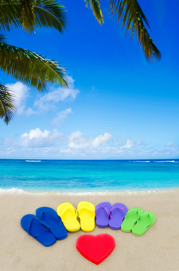 Color flip flops on sandy beach royalty free stock images
